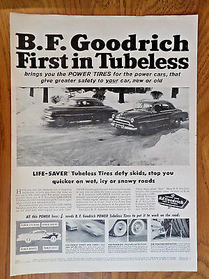 1955 B F Goodrich Tires Ad Ford Chevy Plymouth Cars Winter Snow Driving