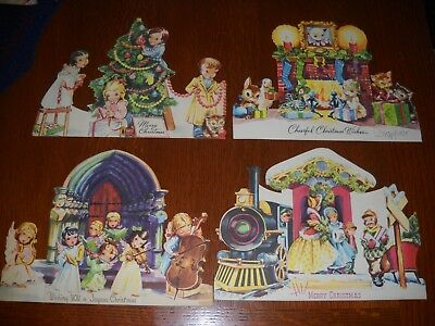 """Lot of 4 Vintage Christmas Cards Die Cut Stand Up 8"""" X 10.5"""""""