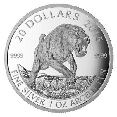 2015 $20 Canada-Prehistoric Animals American Scimitar Sabre-tooth Cat 1oz RAM