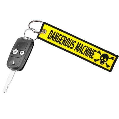 DANGEROUS MACHINE Car Motorcycle Embroidery Keychain 1piece Fabric Key Ring
