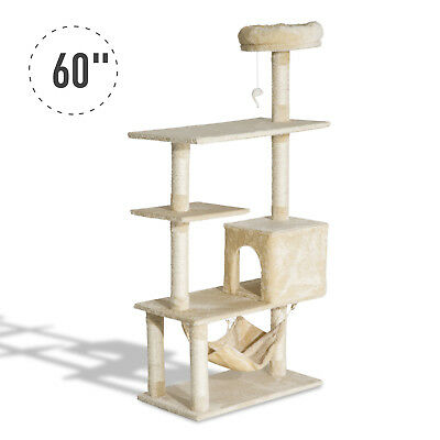 "60"" Cat Tree Scratching Post Kitty Activity Center Pet House Beige"