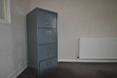 Two Grey Metal Filing Cabinets, One 4 Drawer And One 2 Drawer