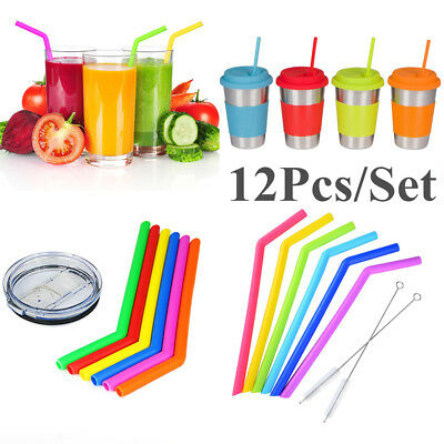 12pcs Food Grade Silicone Drinking Straw Extra Long Wide Straws +4 Brushes HOT