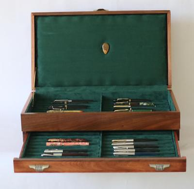 Fountain Pen Storage Display Chest #630 Hand-Crafted-Mahogany-38 Pens-Usa