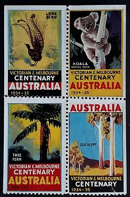 1938- Australia Blk of 4 Australia Day Celebrations Cinderellas Mint / Used