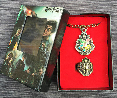 Bronze Harry Potter Hogwarts  School Necklace Pendant Ring Set + Box