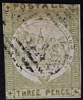 Rare 1850- NSW Australia 3d Yellow Green Imperf Sydney Views stamp Used