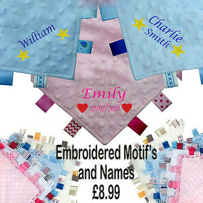 PERSONALISED EMBROIDERED BABYs TAGGY TAGGIE BLANKET PRESENT GIFT SHOWER NEW BABY