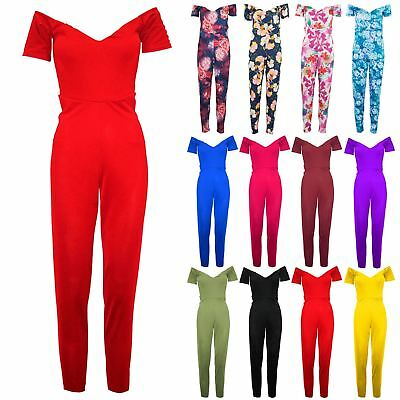 Womens Off The Shoulder Bardot Short Sleeve Playsuit Ladies  All In One Jumpsuit