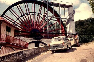 35mm SLIDE :BYGONE BRITAIN : THE LAXEY WHEEL & PERIOD CARS 1960's