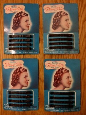 Retro Hair Bob Pins Made in England 50s - original packaging. Price for 4 packs