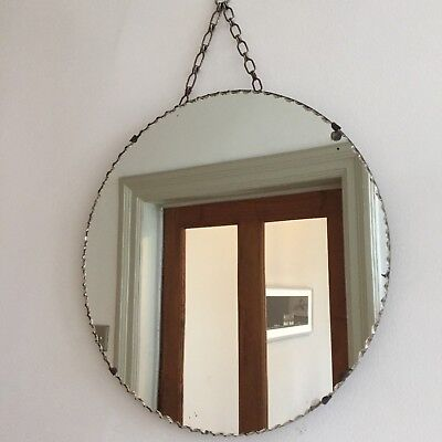 Old Vintage Round Frameless Mirror Bevelled Cut Edges Art Deco 1930s 1940s Chain