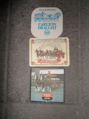 Carlton Clydesdales-West End Clydesdales- Coasters X 3
