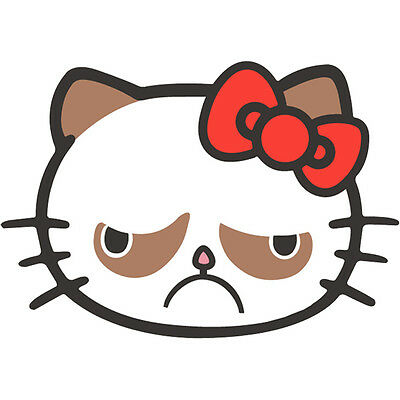 5a30d4346 Grumpy Cat Hell NO Kitty Hello Kitty No Cat Car Vinyl Window Decal Sticker