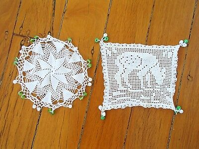 Vintage Crochet Lace Jug Covers With Green & White Beads