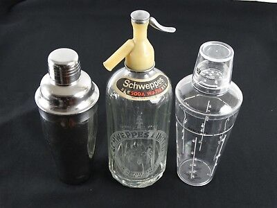 2 Cocktail Shakers inc Recipes & a Vintage Schweppes Limited Soda Syphon