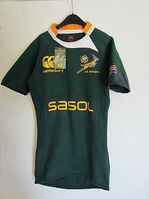 South Africa Springboks Rugby Home Test 2008 Green Jersey Short Sleeves, Size S,