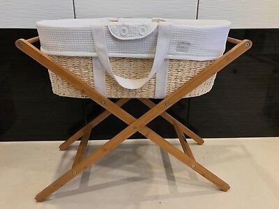 Born With Style cane Moses basket and bamboo Stand and thick mattress