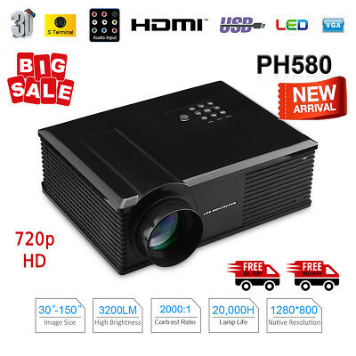 GoClever CINEO Vivid LCD LED HD Beamer 3200 lumens Projecteur Home Cinema 720p