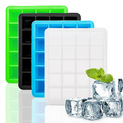 20 Cavity Large Cube Ice Pudding Jelly Soap Maker Form Mould Tray Silicone A/