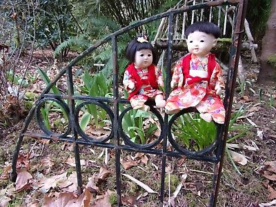 brother & sister VINTAGE Chinese dolls~(Japan)~Gofun type~mid century Asian vtg~