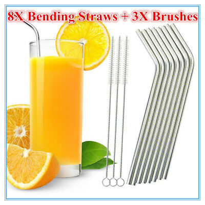 4/8pcs Stainless Steel Metal Drinking Straw Straws Reusable Washable & 3Brushes