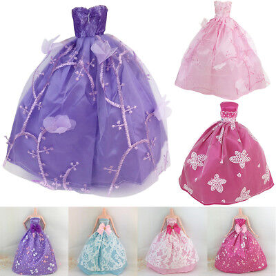 7pcs Beautiful Wedding Party Double Shoulder Strap Dress For Barbie Doll Toy
