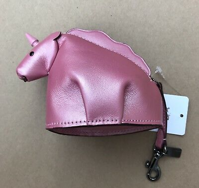 Coach Unicorn Pearlized Blush Pink Leather Zip Coin Case Pouch Bag Charm - 22939
