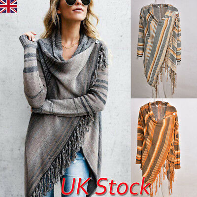 Womens Tassel Long Sleeve Jumper Sweater Cardigan Ladies Fringe Shawl Tops Coat