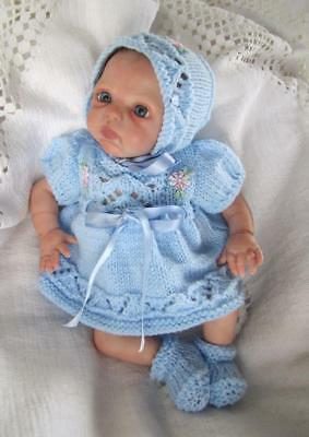 "Hand Knitted Outfit To Fit Marita Winters Mini Reborn Or 8-10"" Similar Doll"