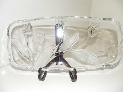 Fabulous LARGE Oblong Glass Serving Platter with Tulips & Scalloped Edges