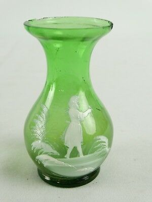 Antique Green Glass Mary Gregory Enamel Painted Vase Bohemia Czech