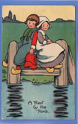 Vintage 1918 Postcard Artist Signed Marsh Lambert Two Children Rest By The Pond