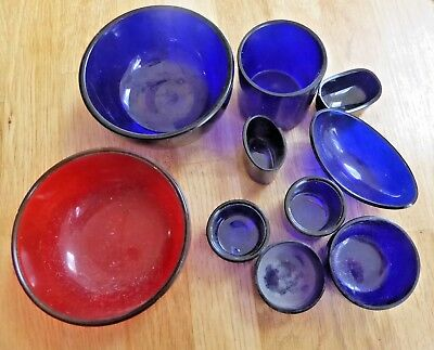 Job Lot of Antique Cobalt Blue Glass Mustard / Salt Pot Liners