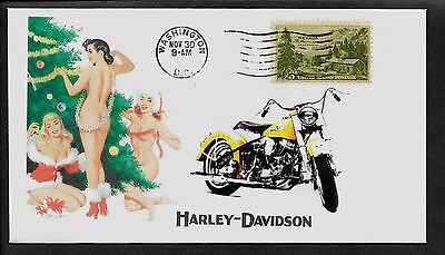 1955 Harley Davidson & Pin Up Girl Featured on Xmas  Collector's Envelope *A307