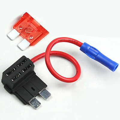 Add A Circuit Fuse Tap Piggy-Back Standard Blade Fuse Holder+10A Blade Fuse