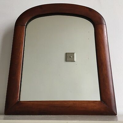 Small Vintage Mahogany Wall Mirror Original Foxed Glass & Back Arched 30x25cm