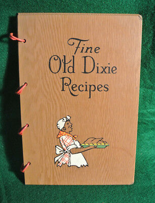 Vintage 1939 Fine Old Dixie 322 Recipes Black Americana Cook Book W/ Wood Cover