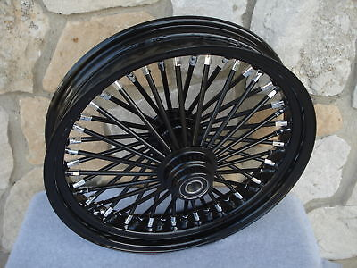 "18"" Black Fat Spoke S/d Front Wheel  Harley Touring 2000-07 &  Fxdwg 2000-05"