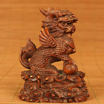 Rare chinese Old Boxwood hand carving Kirin figure statue Home Decoration