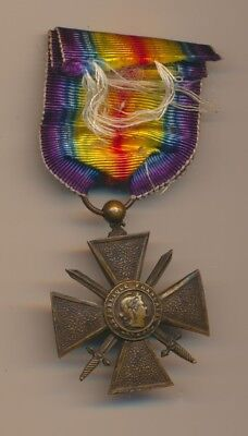 Wwi Croix De Guerre France Meda With Allied  Victory Ribbon