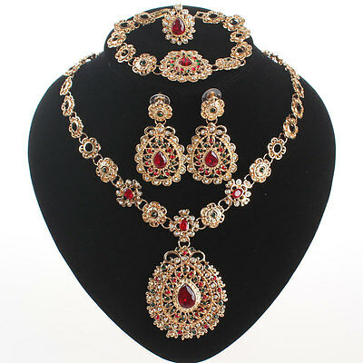 Fashion Women Gold Plated Ruby Rhinestone Pendant Necklace Party Jewelry Set