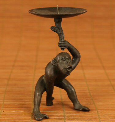 Rare chinese Old Bronze hand carving Monkey statue figure Oil Lamp Candle stick