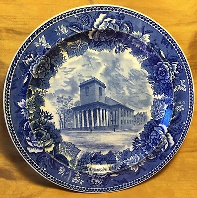 "Antique WEDGWOOD 9.25"" Blue Transfer Plate King's Chapel Boston & Floral Plate"