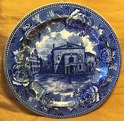 "Antique WEDGWOOD 9.25"" Blue Transfer Plate Old Boston Theatre & Floral Plate"