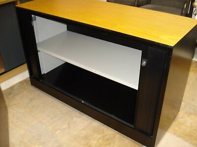 Ahrend Desk Height Tambour Cupboard With 1 Shelf