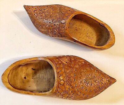 Vintage Handcarved Wooden Shoes European Intricate Design Pair of 2 Shoes