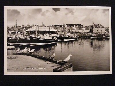 Vintage Harbour Arbroath Angus Real Photographic Postcard Fishing Boats Ah36 Etc
