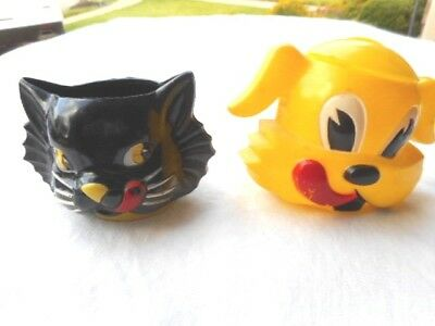 Vintage 1950's Dog And Cat Drinking Cups RARE!!!