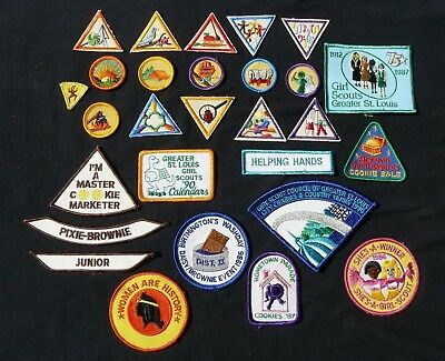 Girl Scout Brownie Patches Triangle iron on patches 28 Total Vintage